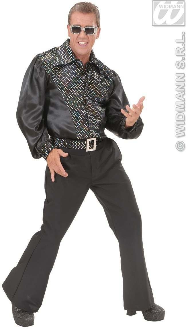 Blk Sat & Velv Shirts W/Sequins Mens Costume