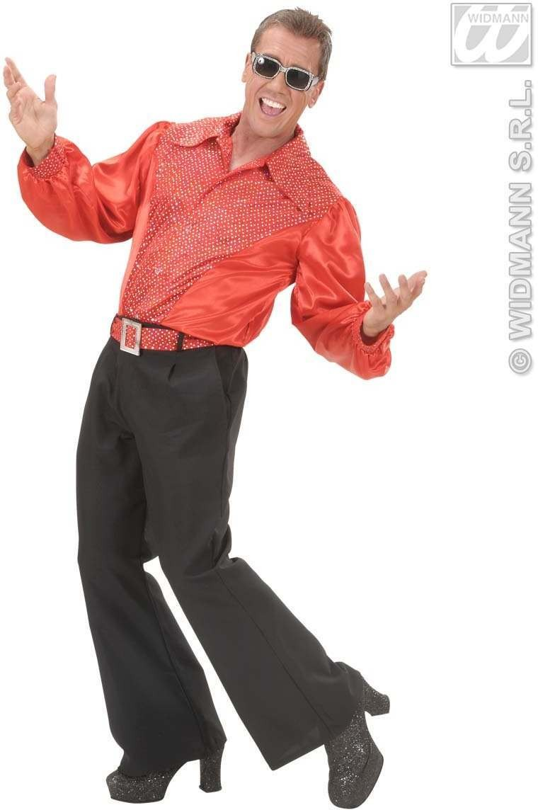 Red Sat & Velv Shirts W/Sequins Mens Costume