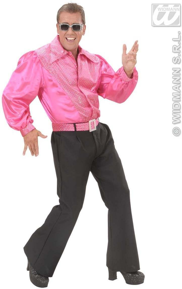 Pink Sat & Velv Shirts W/Sequins Mens Costume