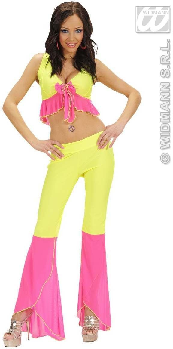 Samba Top & Pants Neon Yellow & Pink Costume Ladies (Spanish)