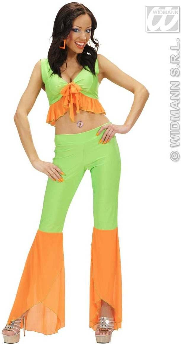 Samba Top & Pants Neon Green & Orange Costume Ladies (Spanish)