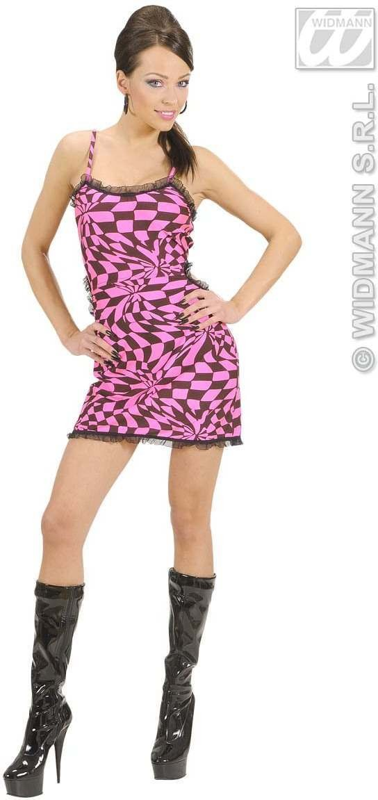 Black/Pink Chequered Dress Fancy Dress Costume Ladies