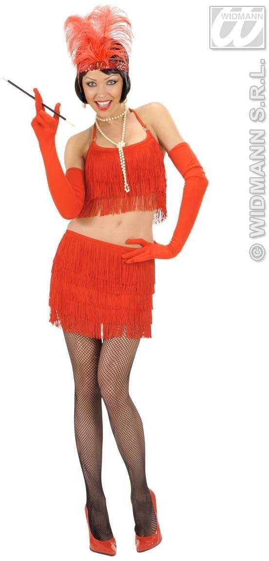 Red Fringed Top And Skirt Fancy Dress Costume Ladies