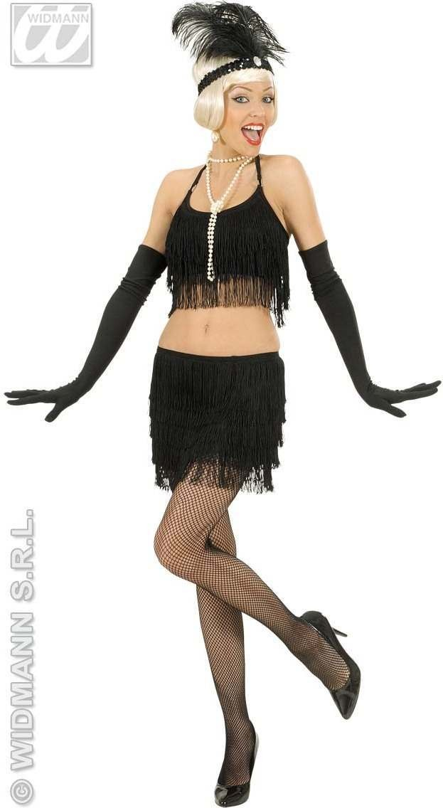 Black Fringed Top And Skirt Fancy Dress Costume Ladies
