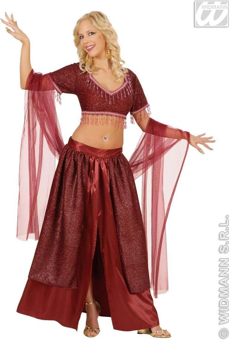 Belly Dancer Costume Adult Satin Fancy Dress Costume