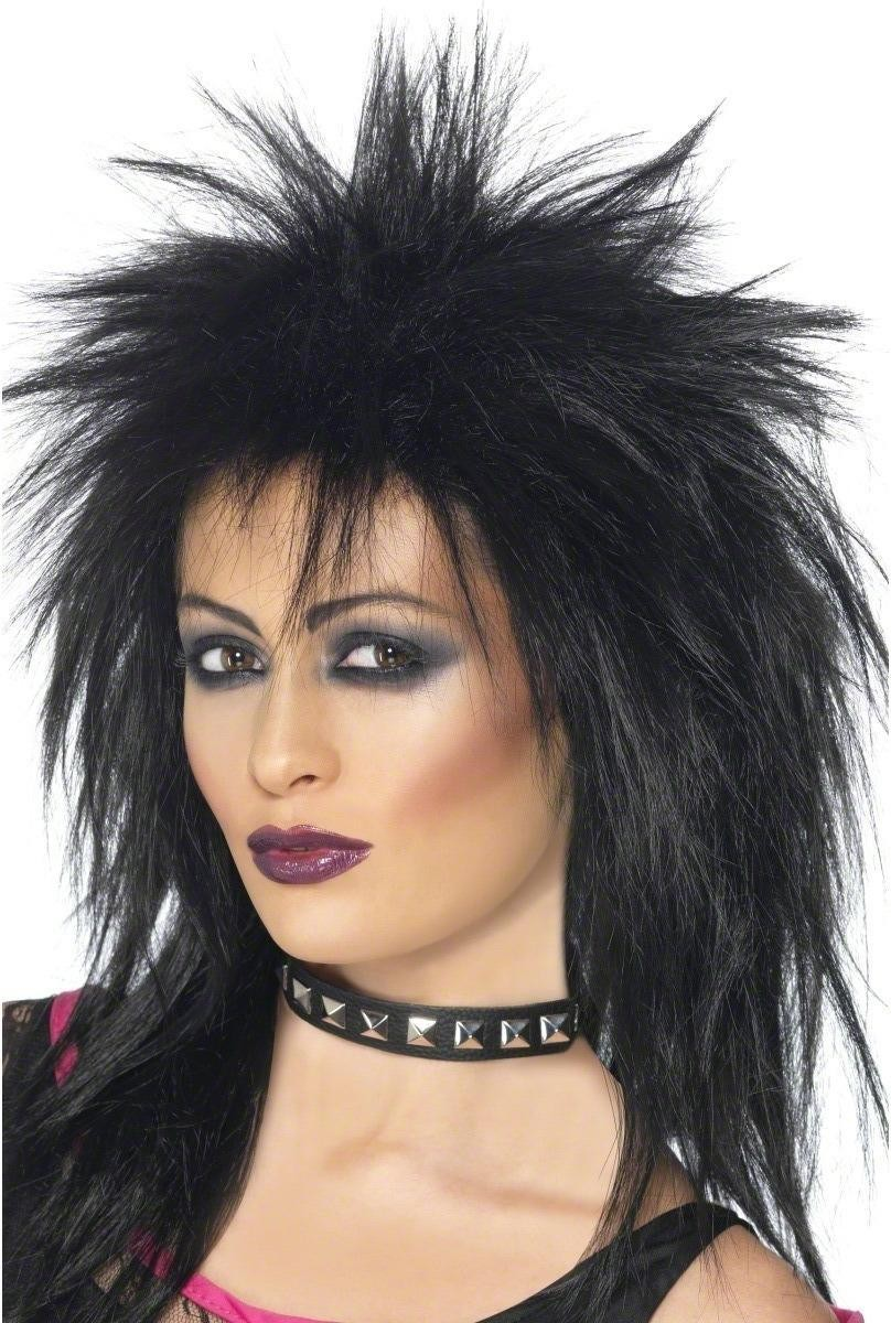Rock Diva Wig - Fancy Dress Ladies (1980S)(Black)