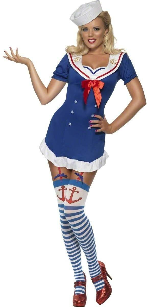 Fever Pin Up Ahoy Sailor Fancy Dress Costume Ladies (Sailor)