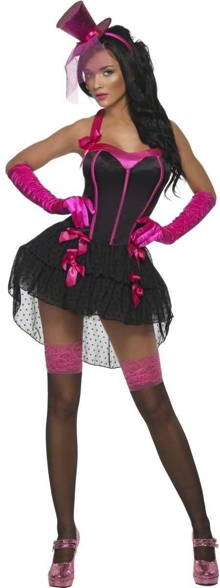 Fever Bow Burlesque Fancy Dress Costume Ladies (Burlesque)