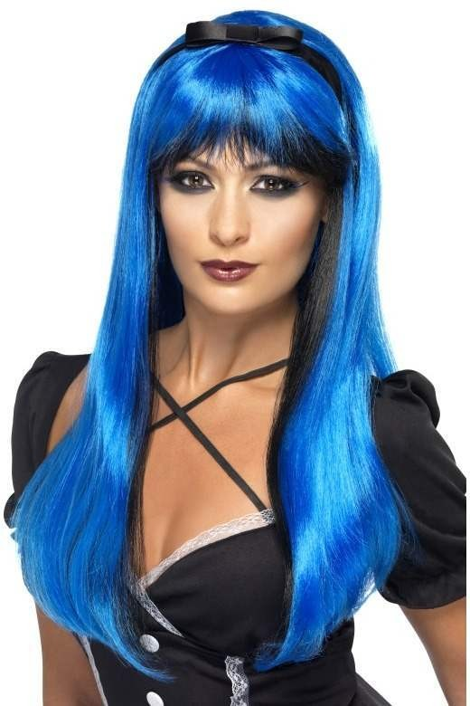 Bewitching Wig, Electric Blue Over Black (Halloween Wigs)