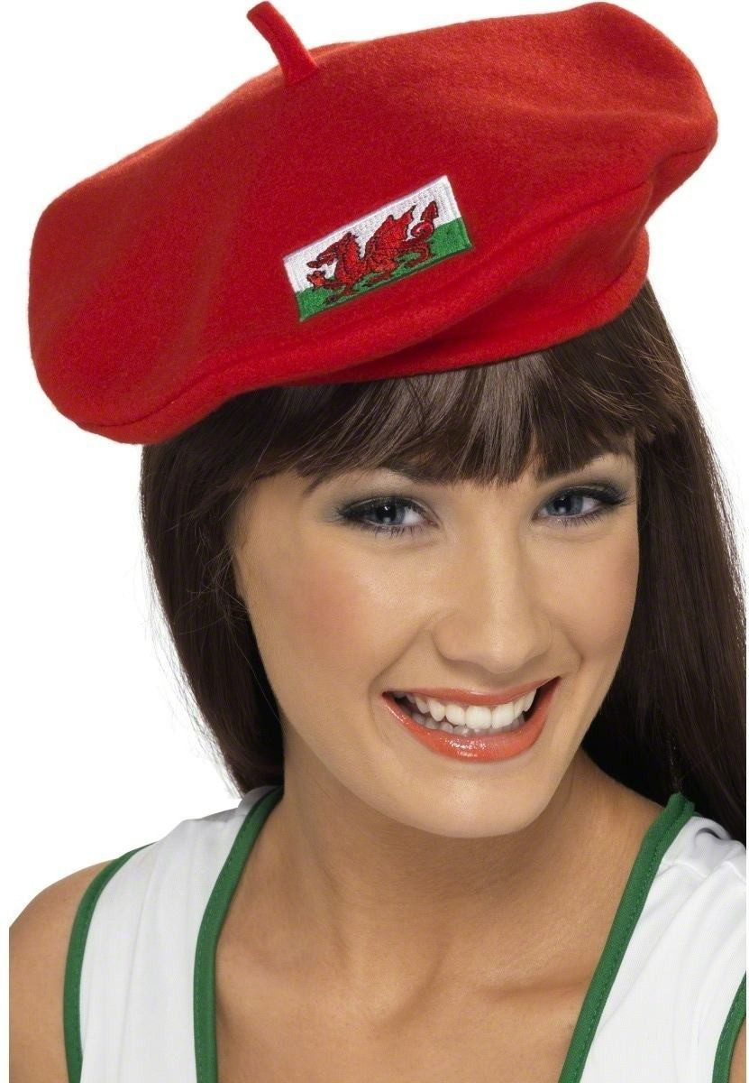 Beret With Welsh Flag Embroided - Fancy Dress