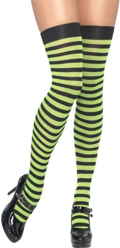 Striped Thigh High Stockings, Green And Black (Halloween , Sexy Tights)