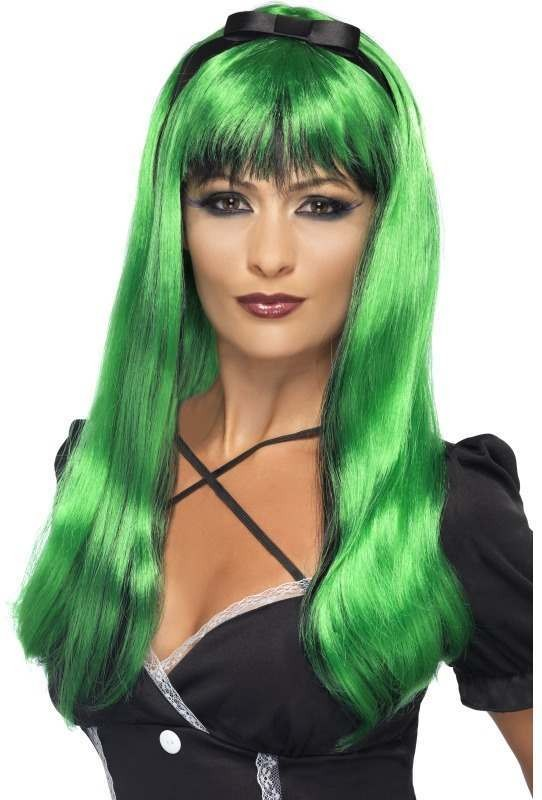 Bewitching Wig, Green Over Black (Halloween Wigs)