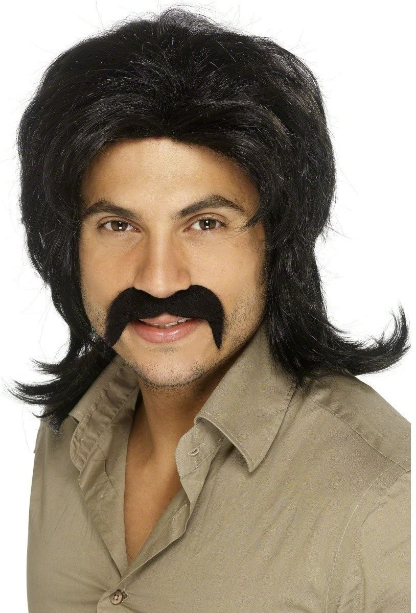 Black Seventies Guy Wig - Fancy Dress Mens (1970S)