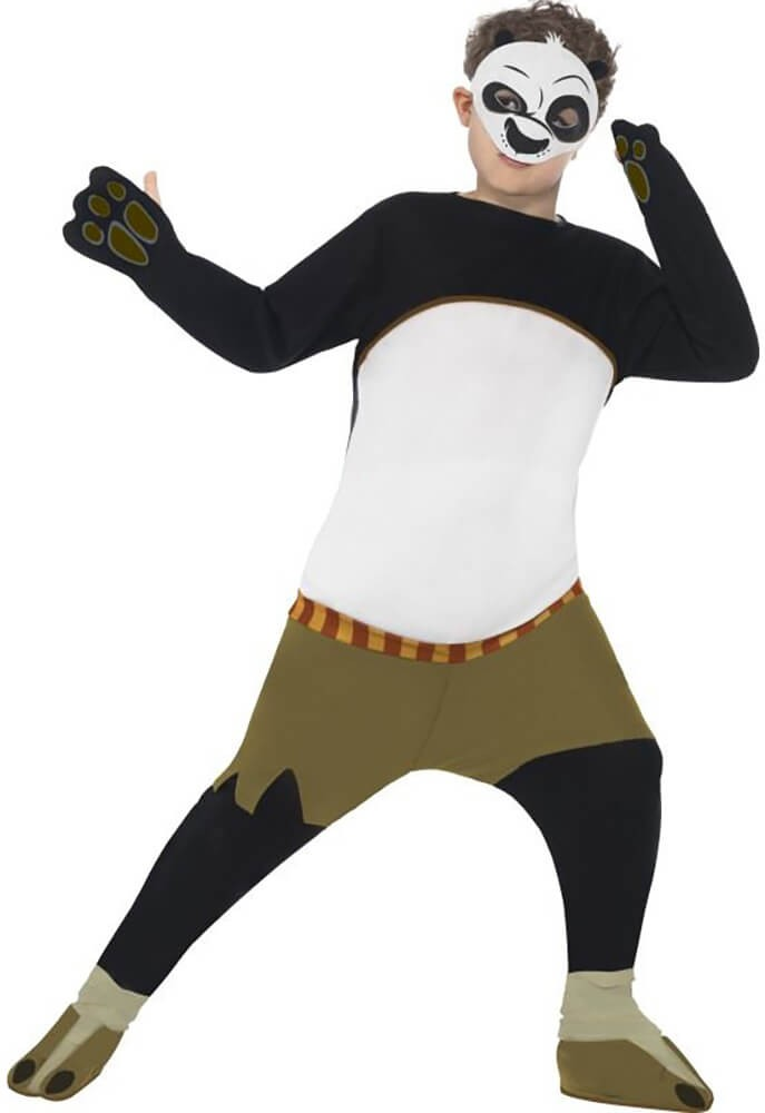 Boys Black & White Kung Fu Panda Po Fancy Dress Costume