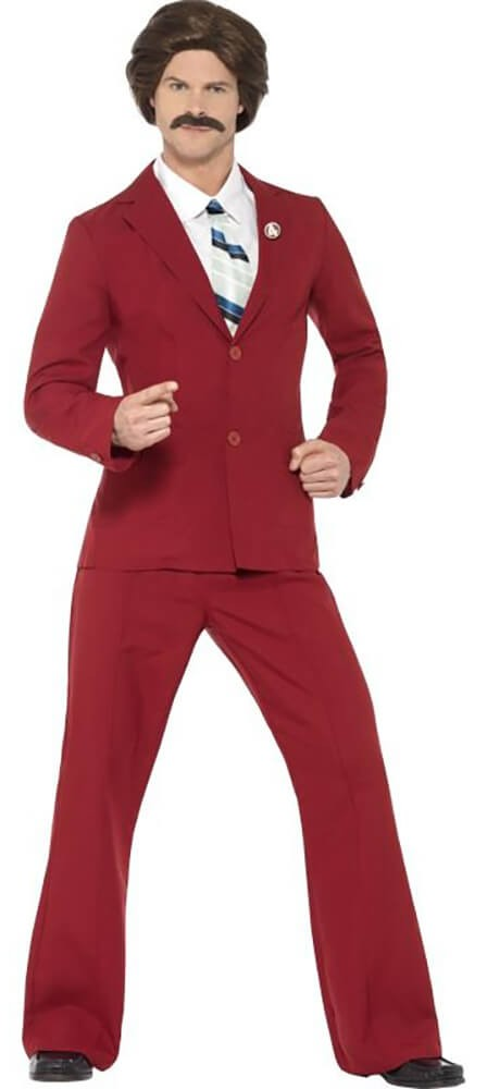 Mens Anchorman Ron Burgundy Fancy Dress Costume