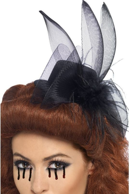 Fascinator Hat With Feather And Veil (Halloween Hats)