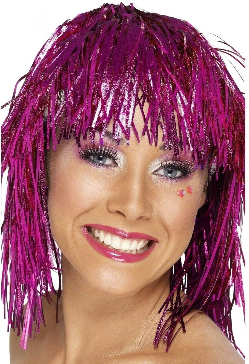 Purple Cyber Tinsel Wig - Fancy Dress Ladies (1970S)