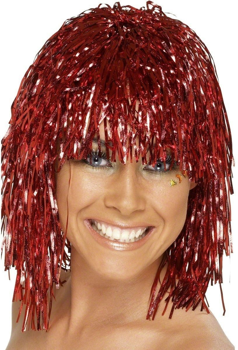 Red Cyber Tinsel Wig - Fancy Dress Ladies (1970S)