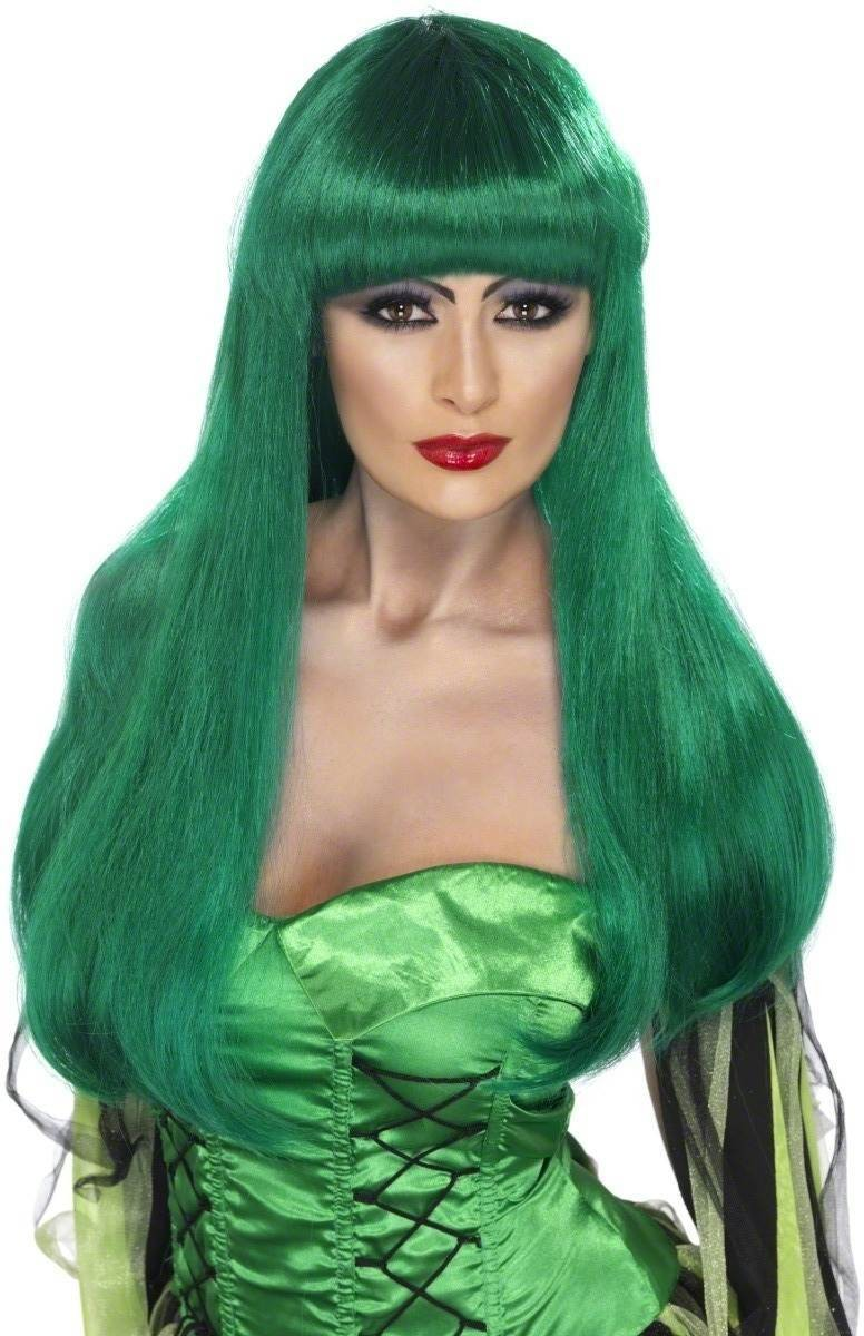 Glamour Witch Wig Fancy Dress Ladies (Halloween) -Green