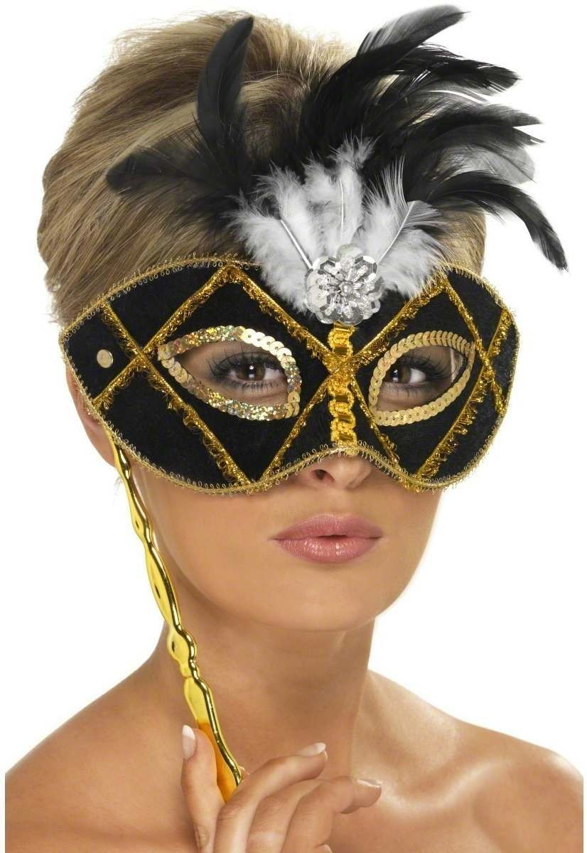 Eyemask Black & Gold With Feather On Stick Fancy Dress