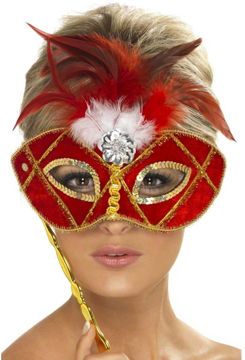Eyemask Red And Gold With Feather On Stick Fancy Dress