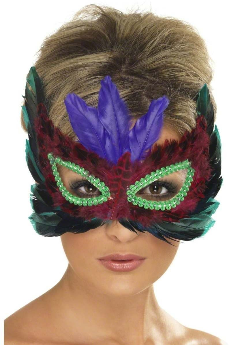 Eyemask With Feathers In Assorted Colours Fancy Dress