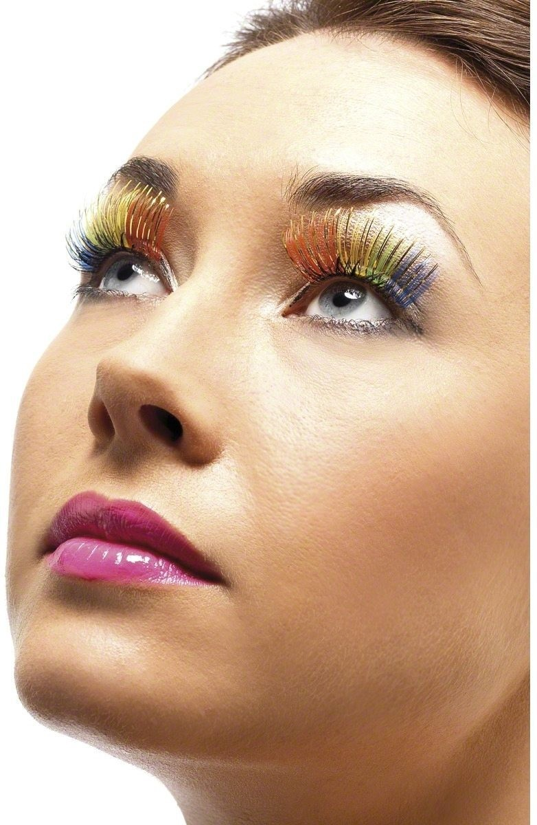Rainbow Coloured Eyelashes - Fancy Dress Ladies (Sexy)