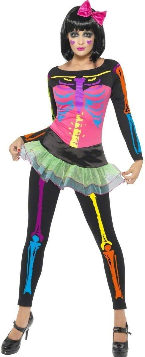 Neon Skeleton Fancy Dress Costume Ladies (Halloween)