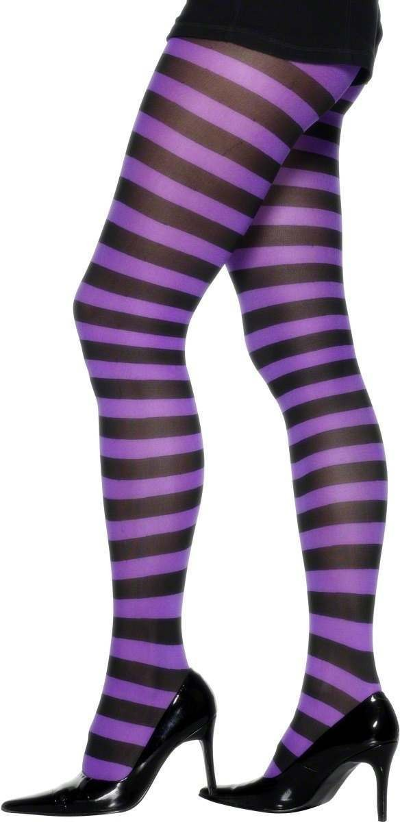 Tights Purple And Black Striped - Fancy Dress Ladies