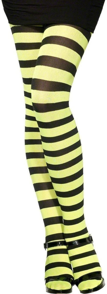 Striped Tights Green And Black - Fancy Dress Ladies
