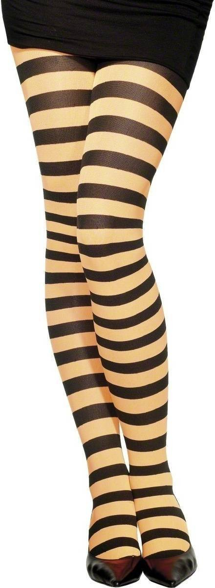 Striped Tights Orange And Black - Fancy Dress Ladies