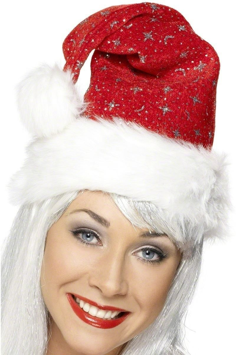 Santa Hat With Moons And Stars - Fancy Dress (Christmas)