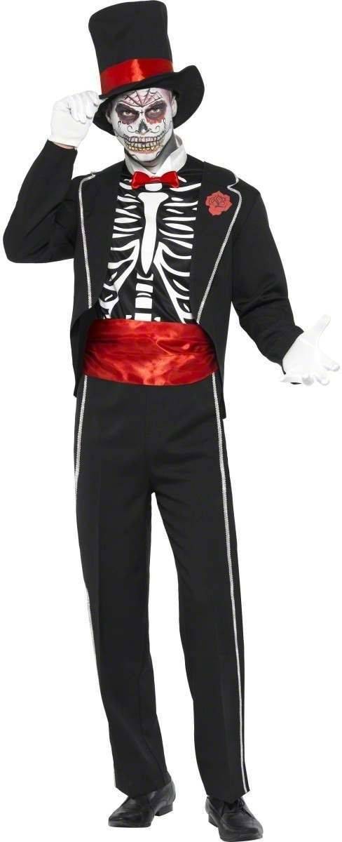 Day Of The Dead Fancy Dress Costume Mens (Halloween)