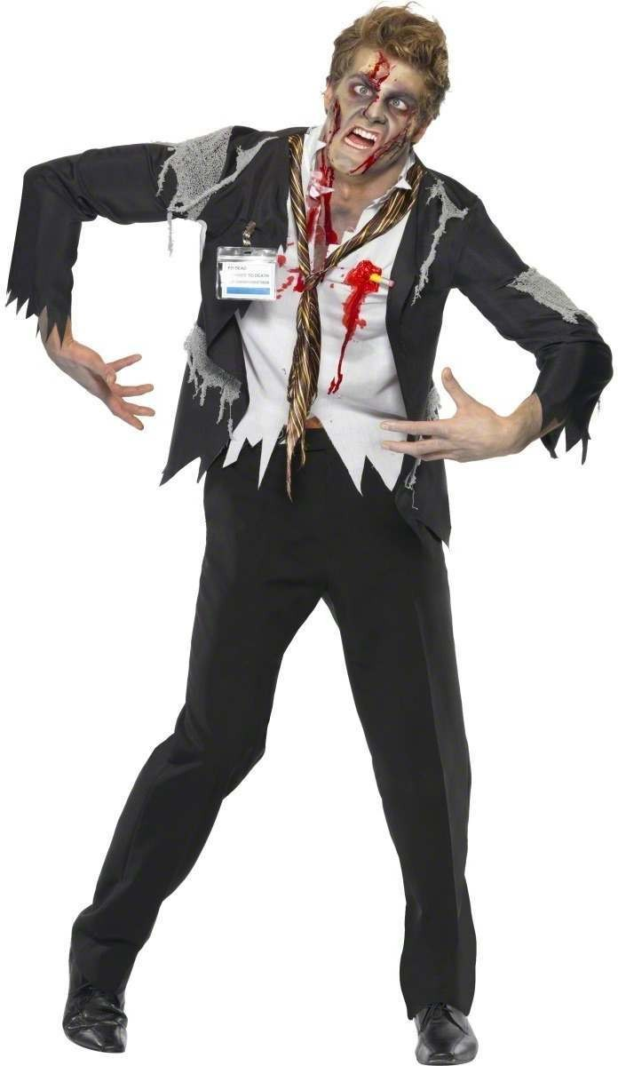 Worked To Death Office Zombie Fancy Dress Costume Mens (Halloween)