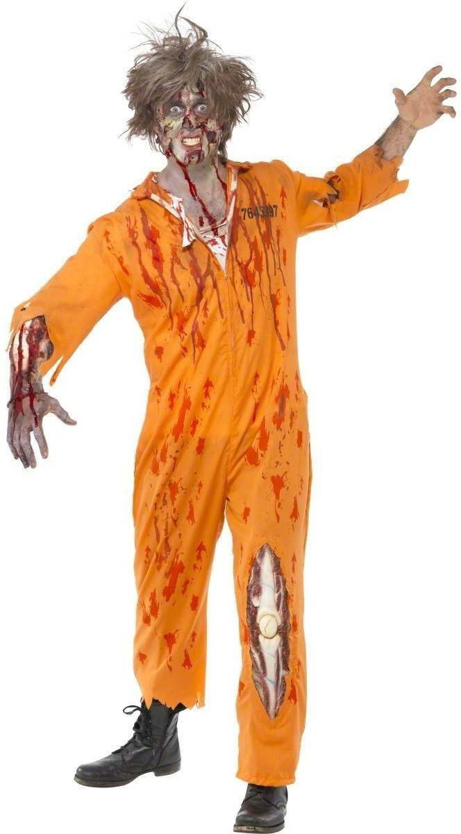 Zombie Convict Costume With Latex Piece Fancy Dress (Cops/Robbers)
