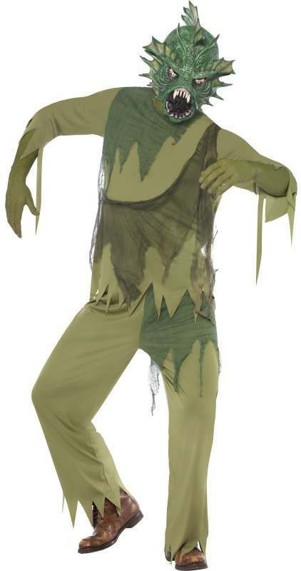 Swamp Monster Man Fancy Dress Costume