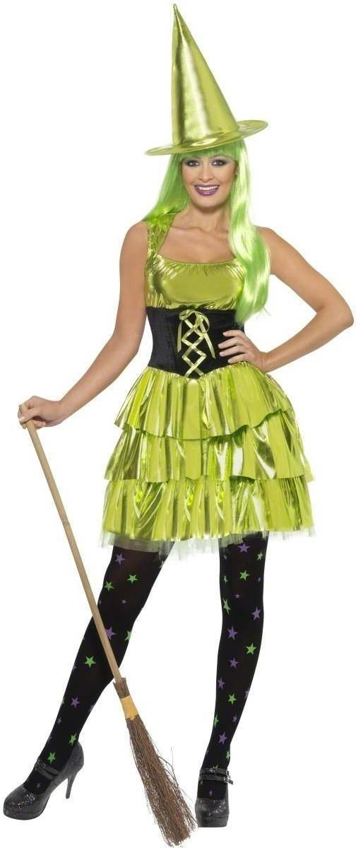 Neon Witch Fancy Dress Costume Ladies (Halloween)