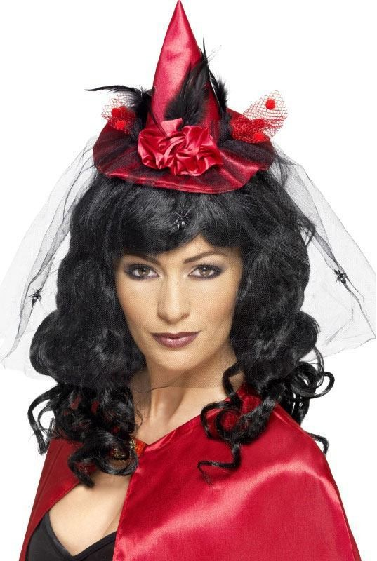 Ladies Red Witch Mini Hat (Fancy Dress Accessory)