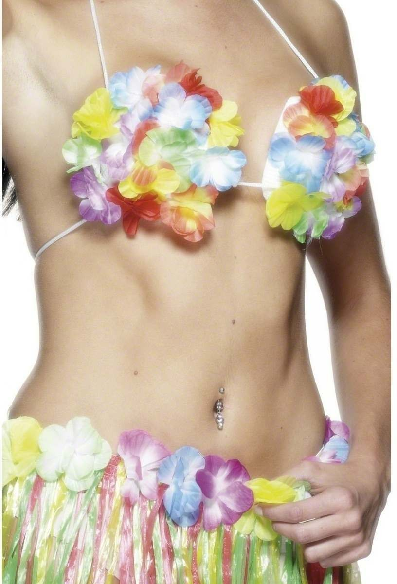 Hawaiian Flowered Bra - Fancy Dress Ladies (Hawaiian)
