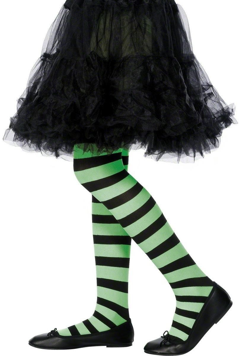 Tights Green And Black Striped - Fancy Dress Age 8-12