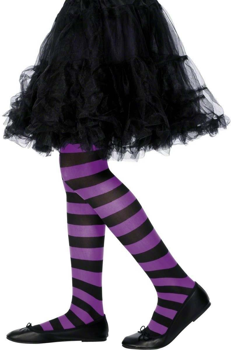 Tights Purple And Black Striped - Fancy Dress Age 8-12