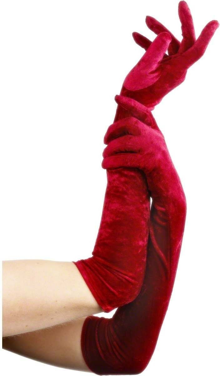 Velveteen Gloves Red - Fancy Dress Ladies