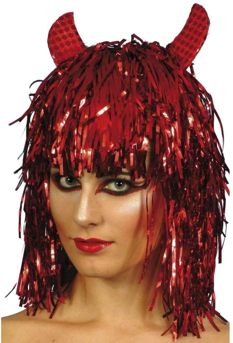 Devil Tinsel Wig - Fancy Dress Ladies (Halloween) - Red