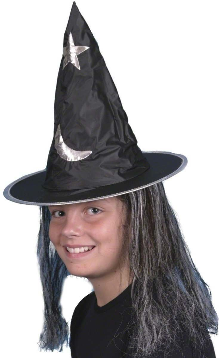 Witches Hat With Hair - Fancy Dress Girls (Halloween)
