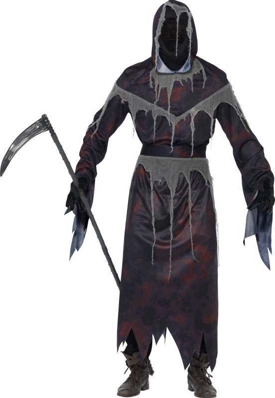 Mens Black/Red Grim Reaper, Hooded Robe With Gloves