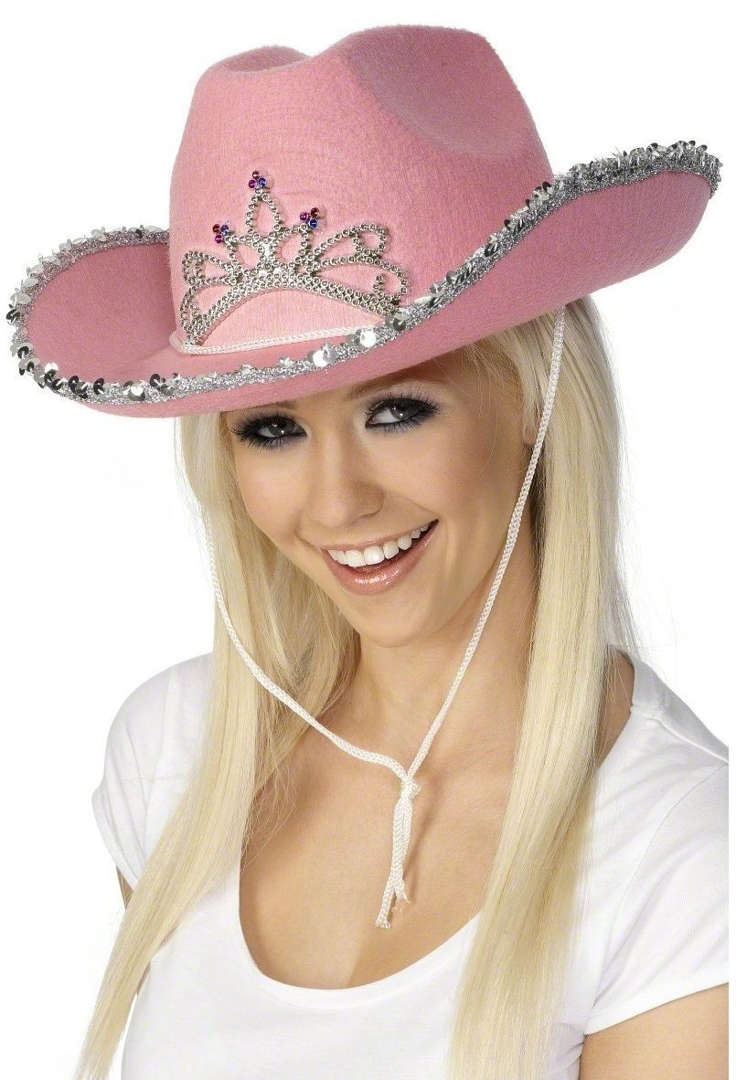 Cowboy Hat Pink With Sequins - Fancy Dress Mens (Cowboys/Native Americans)