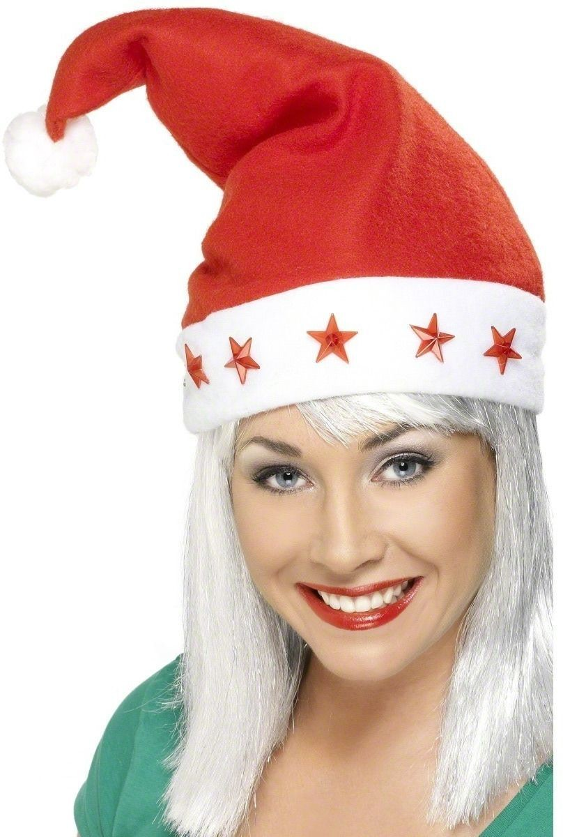 Santa Hat With Flashing Stars - Fancy Dress (Christmas)