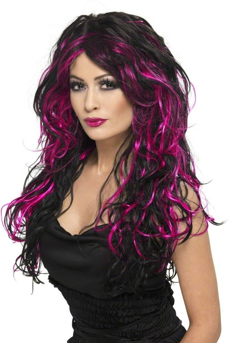 Gothic Bride Wig Fancy Dress Ladies (Halloween) - Purple
