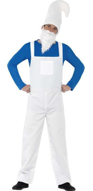 Men'S Blue/White Garden Gnome/Smurf Fancy Dress Costume
