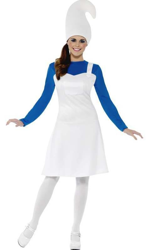 Ladies Blue Garden Gnome/Smurf Style Fancy Dress Costume